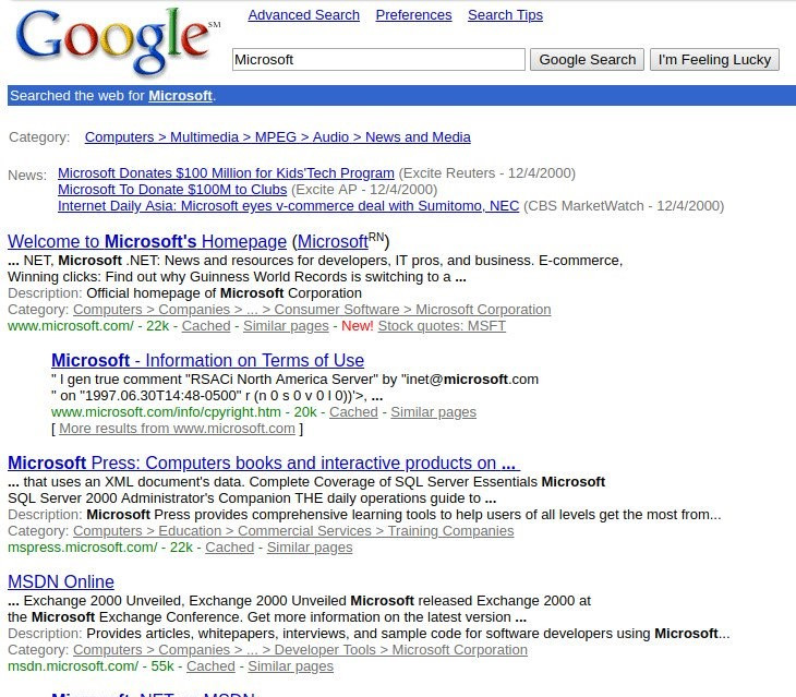 Google search results for microsoft old results